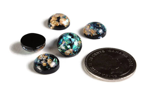 12mm Black gold green blue yellow cabochon - Glitter Cabochon - Domed Flat Back cabochon - 12mm glitter cabochon - 6 pieces (2017)