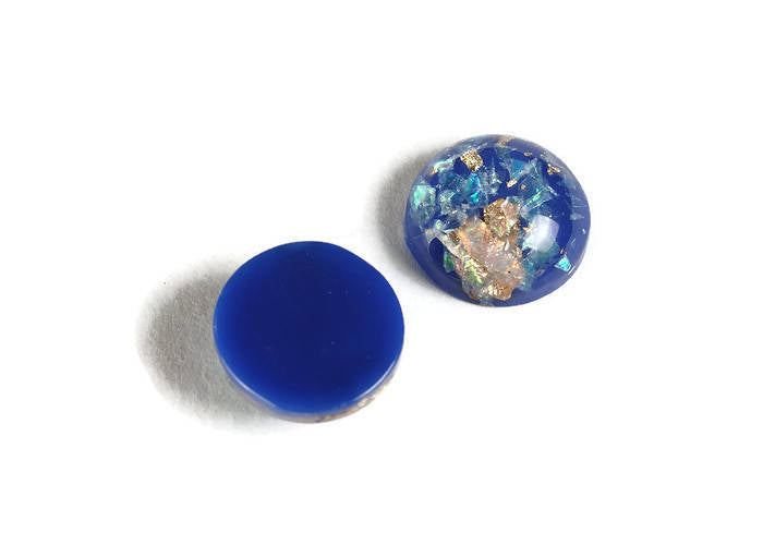 12mm Royal blue gold green yellow cabochon