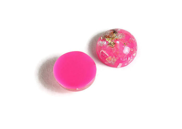 12mm Hot pink Gold cabochon