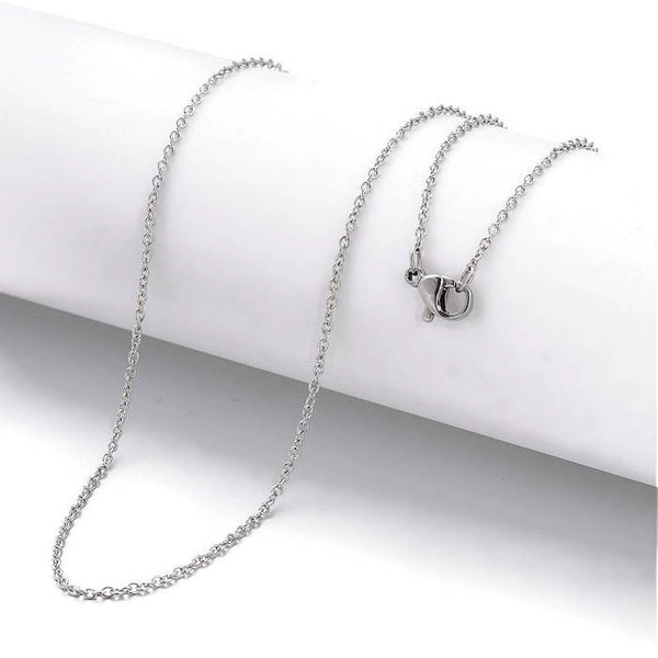 Stainless steel necklace 20 inches - Fine chain 2mm x 1.5mm - 304 Stainless steel - Cross Chains with Lobster Clasps - 20 inches - 1 piece (2022)