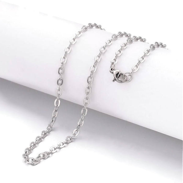 Stainless steel necklace 20 inches; - Fine chain 2.5mm x 2mm - Cross Chains with Lobster Clasps - 20 inches - 1 piece (2024)