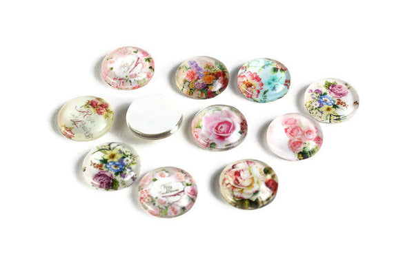 12mm Flower cabochons - 12mm flat round cabochons - 12mm glass cabochon - 12mm Printed Cabochons (2058)
