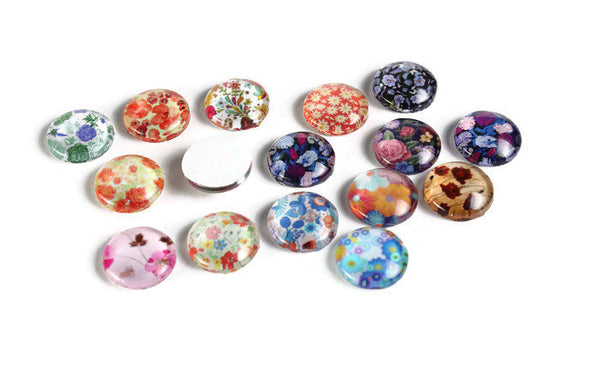 12mm Flower cabochons - 12mm flat round cabochons - 12mm glass cabochon - 12mm Printed Cabochons (2060)