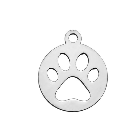 Stainless Steel animal Claw charms - stainless steel Foot Print charms - Stainless steel Paw Print pendant - 14mm x 12mm (2048)