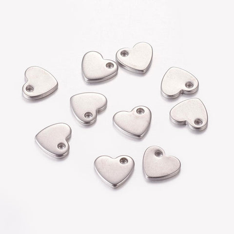 Stainless Steel heart charms - stainless steel charms - Stainless steel heart pendants  - 10mm (2051)