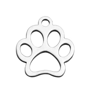 Stainless Steel animal Claw charms - stainless steel Foot Print charms - Stainless steel Paw Print pendant - 13mm x 12mm (2053)