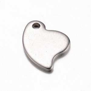 Stainless Steel heart charms - stainless steel charms - Stainless steel heart pendants  - 12mm x 9mm (2054)