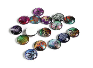 12mm Tree cabochons - 12mm flat round cabochons - 12mm glass cabochon - 12mm Printed Cabochons (2057)