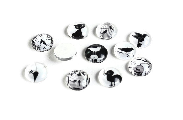 12mm Bird cat cabochons - 12mm black white flat round cabochons - 12mm glass cabochon - 12mm Printed Cabochons (2061)