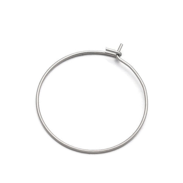 Stainless steel hoop earwire - earring hoops ear wire - Earring Finding - Stainless Steel Wine Charm Hoops - 28mm x 25mm (2066)