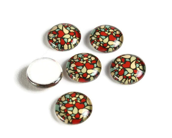 12mm colorful cabochons - 12mm flat round cabochon - 12mm glass cabochon - 12mm Printed Cabochons (2107)