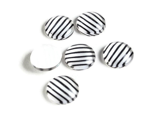 12mm black white cabochons - 12mm Stripe cabochons - 12mm flat round cabochon - 12mm glass cabochon - 12mm Printed Cabochons (2126)