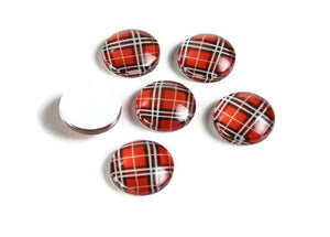 12mm red Grid checker cabochons - 12mm Geometric cabochons - 12mm flat round cabochon - 12mm glass cabochon - 12mm Printed Cabochons (2125)
