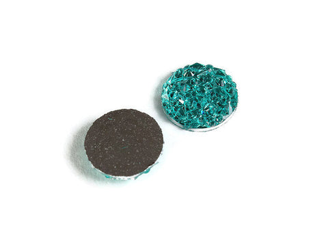 12mm Aqua turquoise round resin cabochon - Faux druzy cabochon - Faux drusy cabochon - Textured cabochons (2070)
