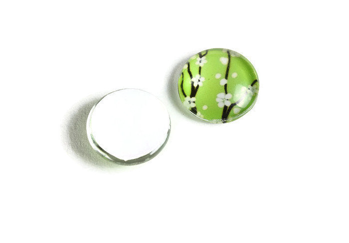 12mm green flower cabochons - 12mm flat round cabochon - 12mm glass cabochon - 12mm Printed Cabochons (2139)