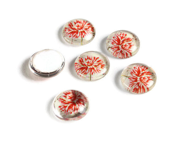 12mm flower cabochons - 12mm flat round cabochon - 12mm glass cabochon - 12mm Printed Cabochons (2110)