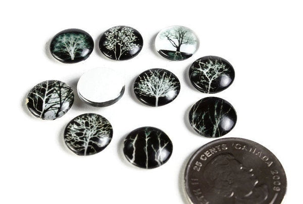 12mm Tree Pattern cabochons - 12mm round cabochons - 12mm glass cabochon - 12mm Printed Cabochons - mixed color cabochons (2085)