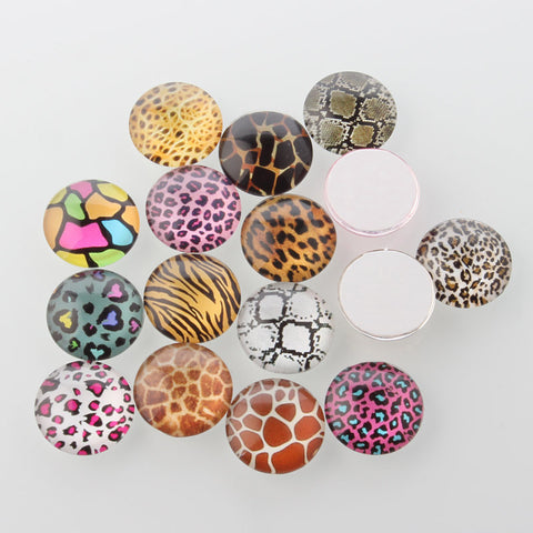 12mm  Animal Skin pattern cabochons - 12mm round cabochons - 12mm glass cabochon - 12mm Printed Cabochons - mixed color cabochons (2146)