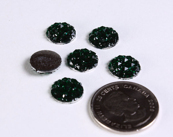 12mm Green round resin cabochon - Faux druzy cabochon - Faux drusy cabochon - Textured cabochons (2071)