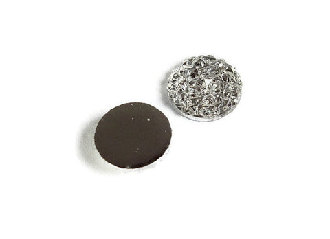 12mm White silver round resin cabochon - Faux druzy cabochon - Faux drusy cabochon - Textured cabochons (2073)