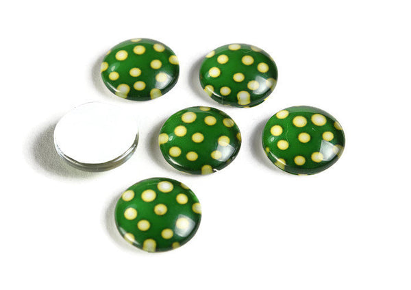 12mm Green yellow polka dot cabochons - 12mm cabochon - flat round cabochon - 12mm glass cabochon - 12mm Printed Cabochons (2133)