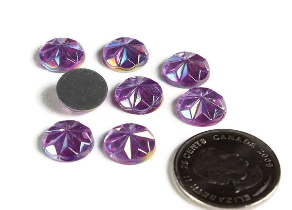 12mm Purple AB faceted round resin cabochon - 12mm Acrylic rhinestone cabochon - Textured cabochons (2144)