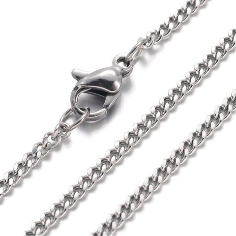 "Stainless steel necklace 24"" - Curb Chain with Lobster Clasp - 24 inches (2156)"