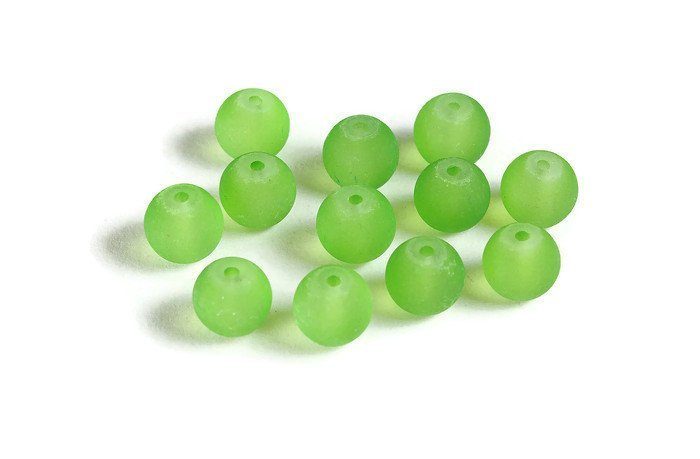8mm Green glass beads - 8mm Green frosted beads - 8mm Green round glass bead - Frosted Glass Beads (2074)
