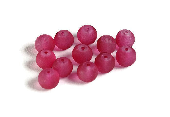 8mm raspberry pink glass beads - 8mm frosted beads - 8mm round glass bead - Frosted Glass Beads (2078)