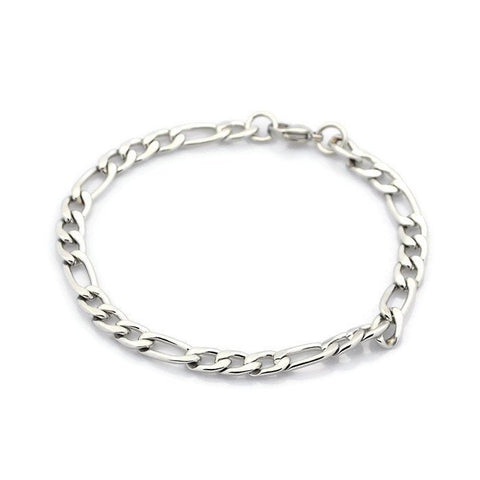 "Stainless steel bracelet 8 1/4"" - Figaro Chain Bracelet with Lobster Clasp - 8.25 inches (2183)"