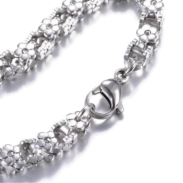 "Stainless steel bracelet 8 1/4"" - Flower Chain Bracelet with Lobster Clasps - 8 1/4 inches (2181)"