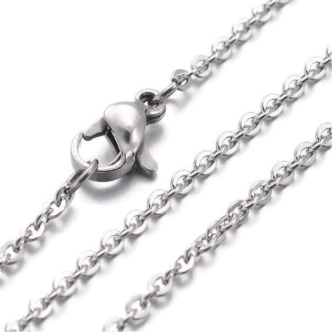 "Stainless steel necklace 18"" - Fine chain 2mm x 1.5mm - Cross Chains with Lobster Clasp - 18 inches (2180)"