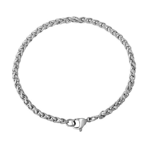 "316 Stainless steel bracelet 6 7/8"" - Wheat Chain Bracelet with Lobster Clasp and Extender Chain - 6 7/8 inches (2175)"