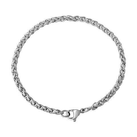 "316 Stainless steel bracelet 7 1/8"" - Wheat Chain Bracelet with Lobster Clasp - 7 1/8 inches (2175-1)"