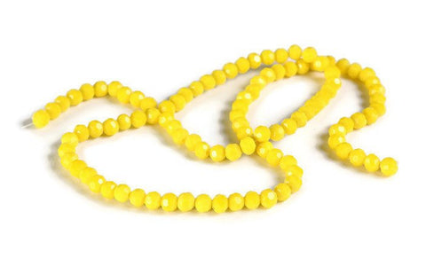 4mm yellow glass beads - 4mm yellow opaque beads - 4mm Faceted round beads - 4mm Opaque beads - 4mm glass beads - strand beads (2091)