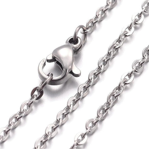 "Stainless steel necklace 16"" - Fine chain 2.4mm x 2mm - Cross Chains with Lobster Clasps - 16 inches (2157)"