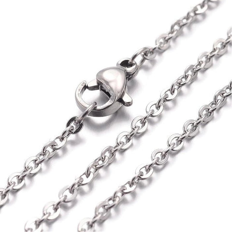 "Stainless steel necklace 18"" - Fine chain 2.5mm x 2mm - Cross Chains with Lobster Clasps - 18 inches (2159)"