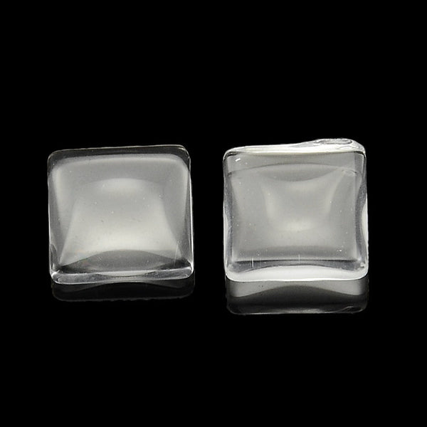 8mm clear cabochons - 8mm flat square cabochons - 8mm glass cabochon - 8mm domed cameo - 8mm dome cabochon (2170)