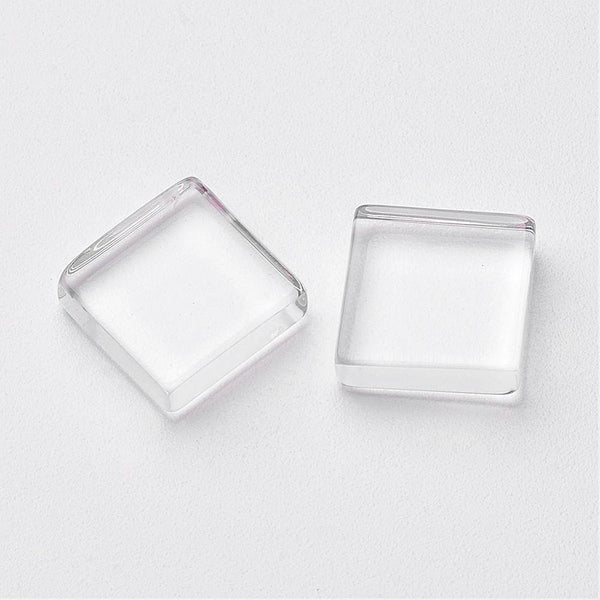 10mm clear cabochons - 10mm flat square cabochons - 10mm glass cabochon - 10mm Flat Back cameo - 10mm Flat Back cabochon (2173)