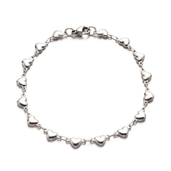 "Stainless steel bracelet 8 1/4"" - Heart Link Chain Bracelet with Lobster Clasps - 8 1/4 inches (2177)"