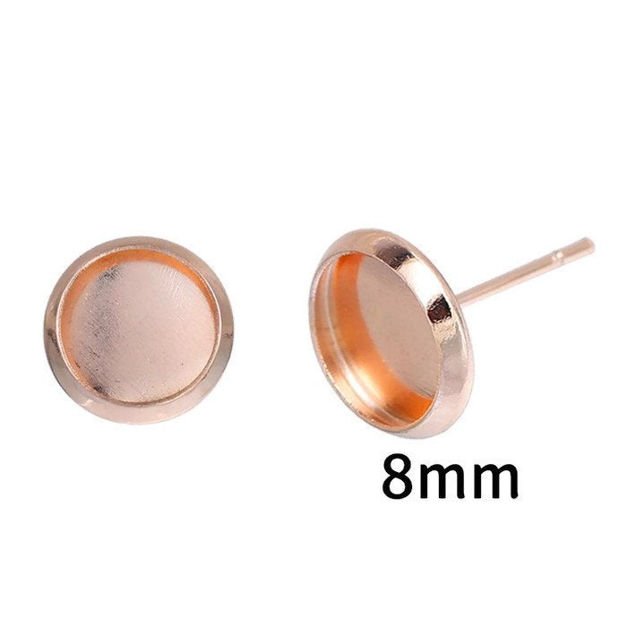 8mm earstud Rose gold findings - fits 8mm cabochon - Earring Setting - Nickel free - lead free - 10 pieces (5 pairs) (2197)