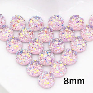 8mm pink round cabochon - Resin cabochon - Faux druzy cabochon - Faux drusy cabochon - Textured cabochons - chunky Cabochon (2203)