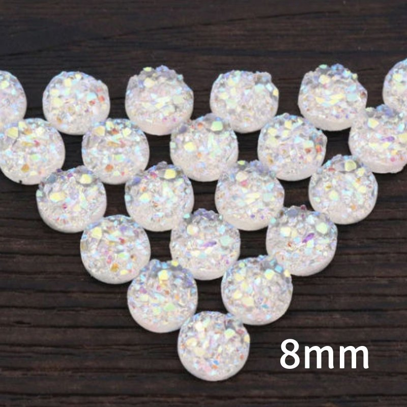 8mm white round cabochon - AB white cabochon - Faux druzy cabochon - Faux drusy cabochon - Textured cabochons - chunky Cabochon (2206)