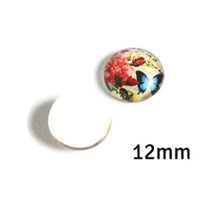 12mm Butterfly Flower cabochons - 12mm pink blue cabochons - 12mm flat round cabochon - 12mm glass cabochon - 12mm Printed Cabochons (2145)