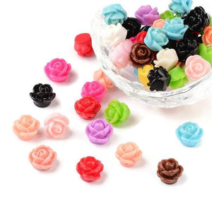 9mm flower beads - Drilled Flowers - Mixed color - Rose beads - Rosebud beads - Mix beads - 1mm Hole bead (2185)