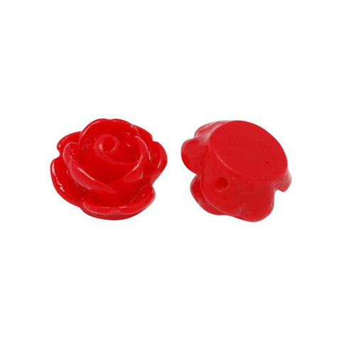 9mm Red flower beads - Drilled Flowers - 9mm Red Rose beads - 9mm red Rosebud beads - 1mm Hole bead (2187)