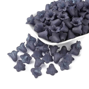 Dark Gray lily beads - Gray Frosted trumpet beads - frosted flower beads - Lily Flower Beads - Lucite Flower Beads - 16mm x 12mm (495-1)