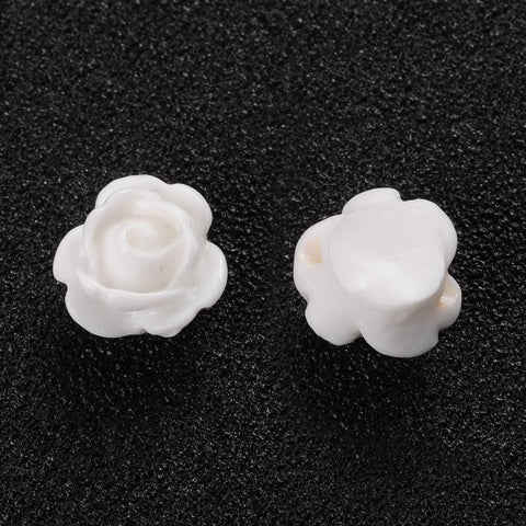 9mm Off-White flower beads - Drilled Flowers - 9mm White Rose beads - 9mm White Rosebud beads - 1mm Hole bead (2192)
