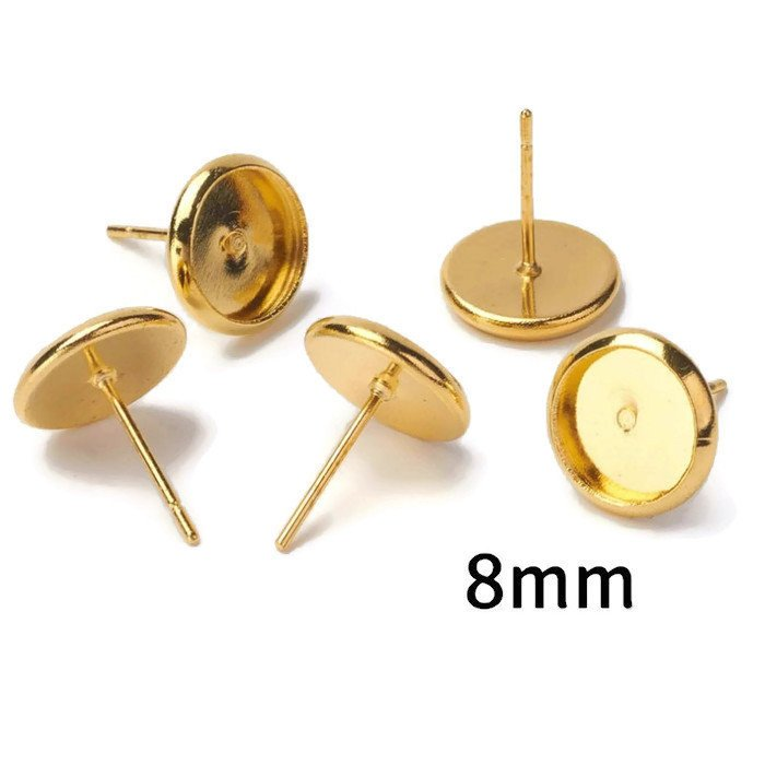 8mm earstud gold tone finding - Round Cabochon Earring Setting Component - nickel free - 10 pieces (5 pairs) (2194)