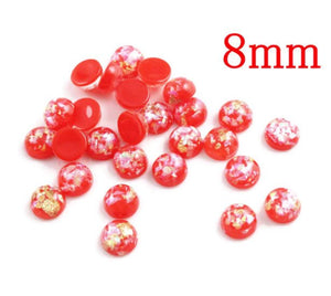 8mm red and gold cabochon - 8mm AB finish cabochon - Glitter Cabochon - Domed Flat Back cabochons - 8mm glitter cabochons (2212)